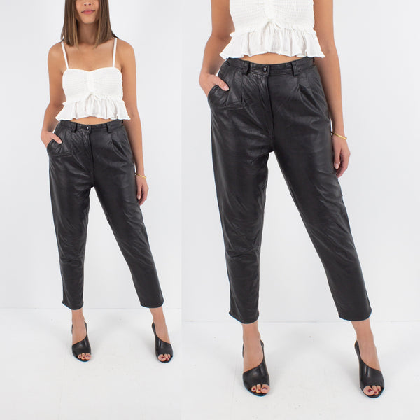 "Black Leather High Waist Pants - Size 27"" / S"