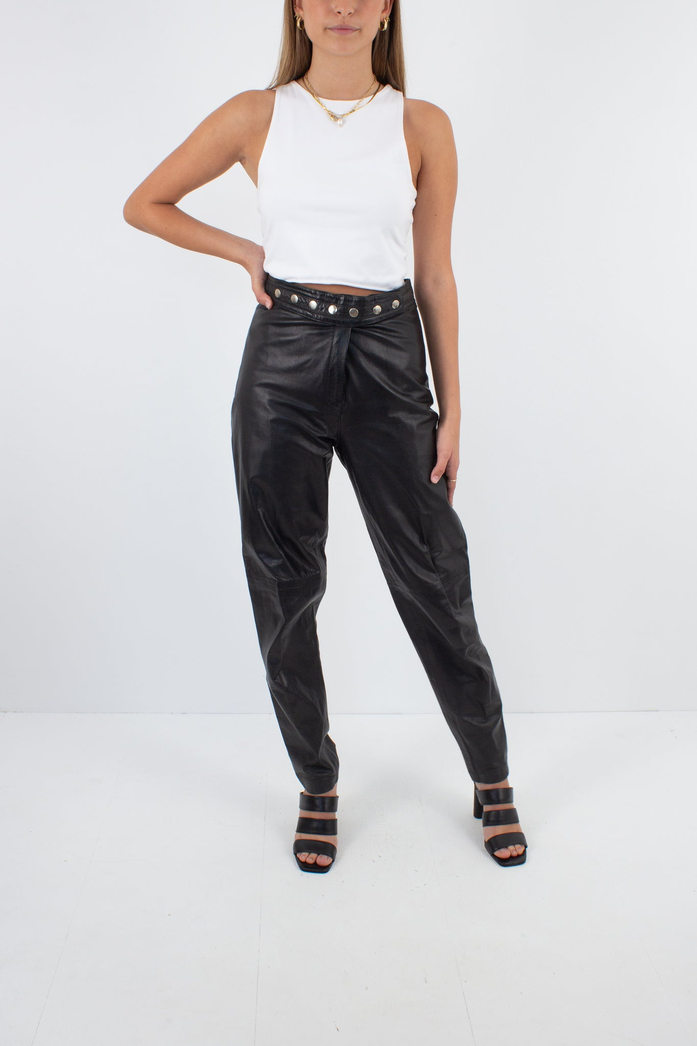 Black Leather High Waist Pants - Size S / 27""