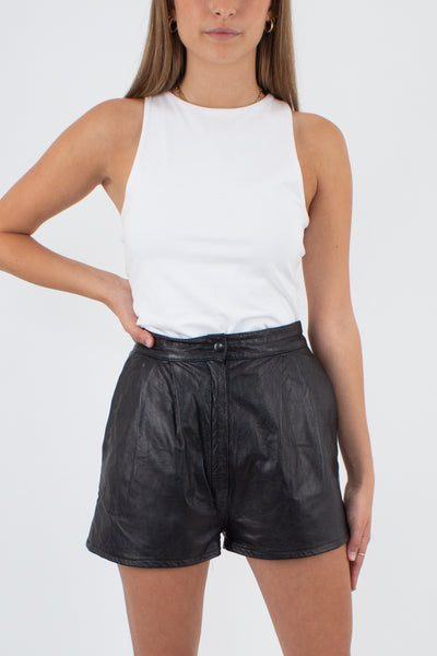 Black Leather Shorts - Size XS / 25""