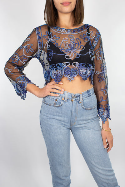 Black Mesh Midriff Top with Blue Ribbon Detail - Size XS/S/M
