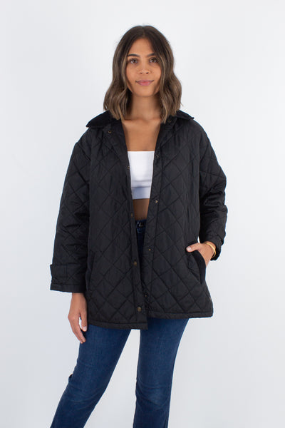 Black Quilted Windbreaker Jacket with Cord Trim - Size M