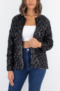 Black Sequinned Cardigan Jacket - Free Size