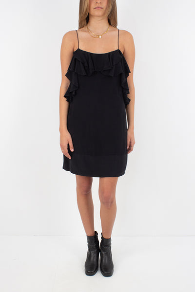 Black Silk Mini Dress with Ruffled Layer - Size XS/S
