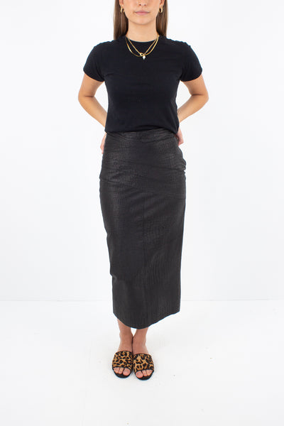 Black Snakeskin Embossed Leather Midi Skirt - Size XS / 25""