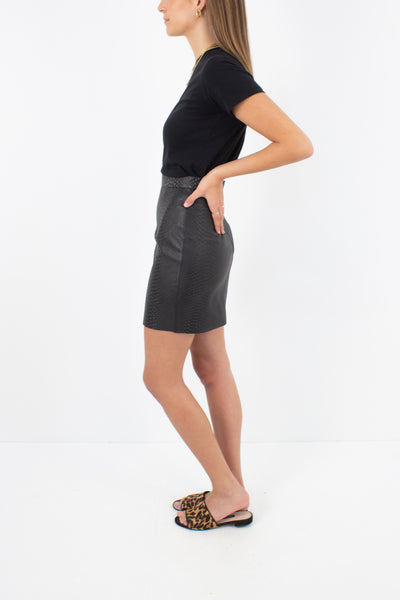 Black Snakeskin Embossed Leather Mini Skirt - Size XS / 24""
