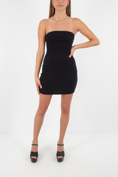 90s / Y2K Black Strapless Tube Mini Dress - Size XXS/XS/S