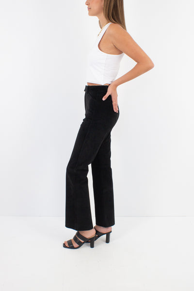 Black Suede Leather Straight Leg Pants - High Waist - Size XS / 25""