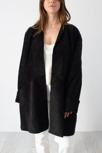Black Suede Leather Midi Coat - Free Size