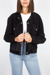 Black Suede Leather Bomber Jacket - Free Size