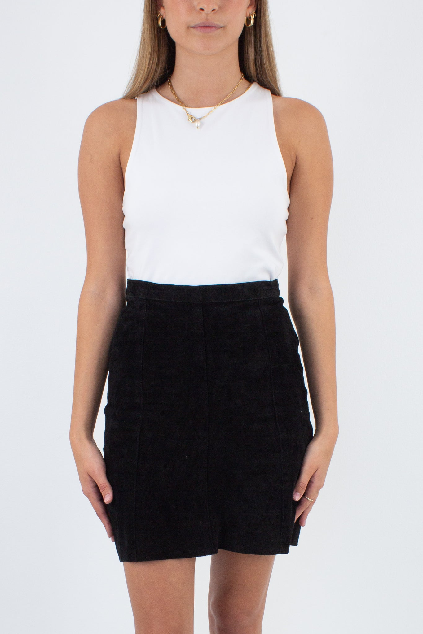 Black Suede Leather Mini Skirt - Size XS / 25""