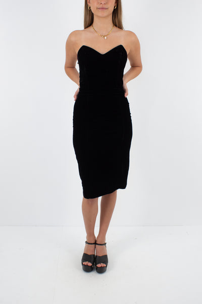 80s Black Velvet Dress with Boning - Size S