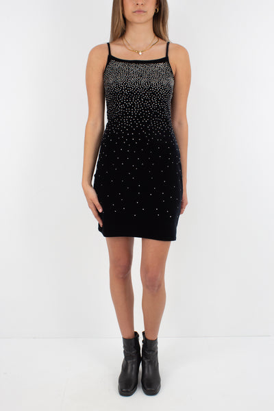 Black Stretch Velvet Mini Dress with Sparkle Detail - Size XS/S