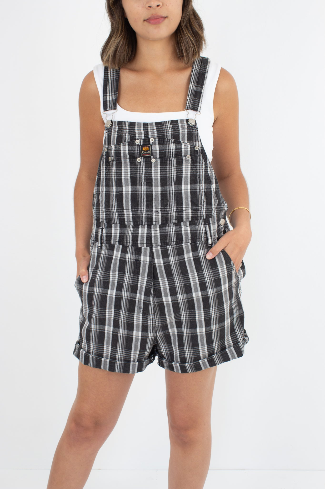 Black & White Check Overalls - Route 66 - Size L