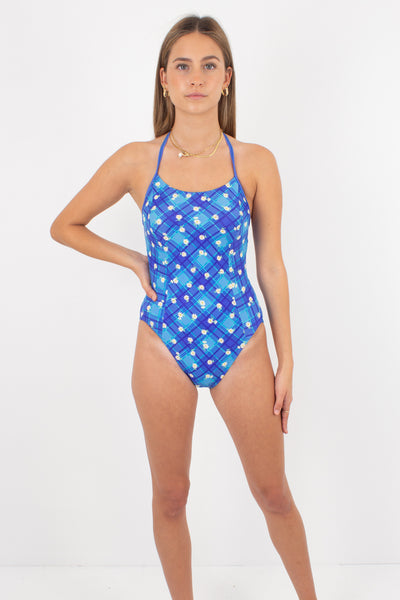 80s/90s Blue Check & Floral Swimsuit One Piece - Size XS & S