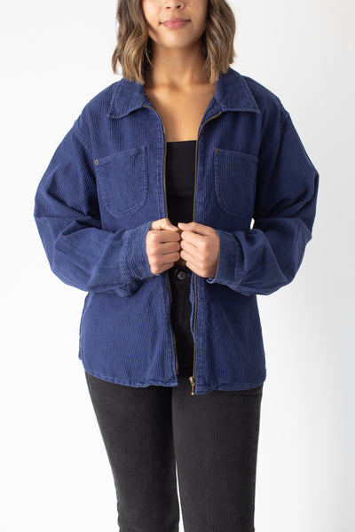 Blue Cord Zip Up Jacket - Free Size