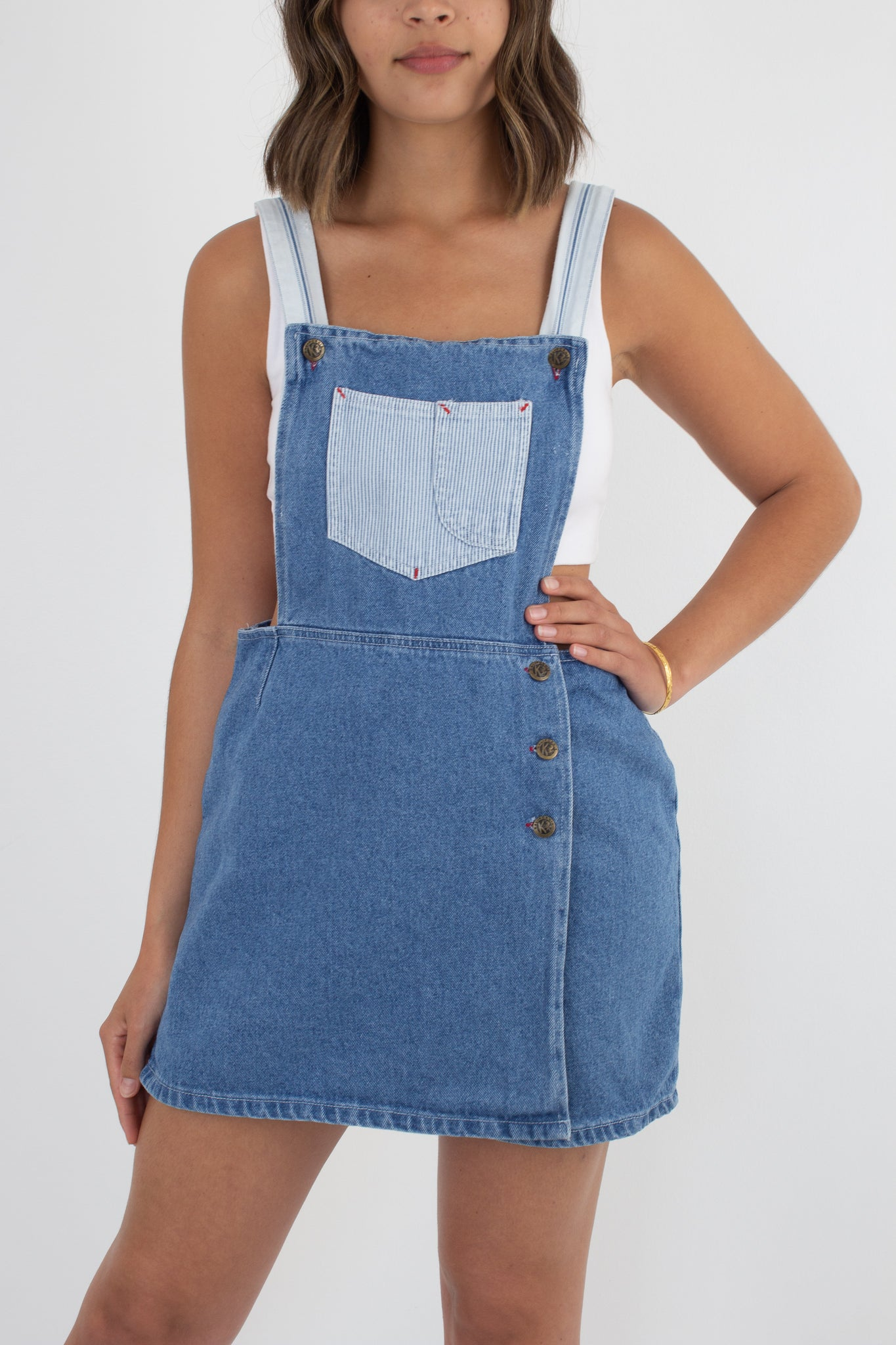 Blue Denim Short Overalls Dress - Size M