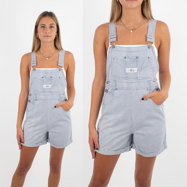 Blue Houndstooth Denim Overalls - Size XS/S
