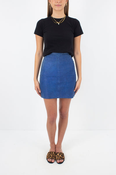 Blue Snakeskin Embossed Leather Skirt - Size XXS / 23""