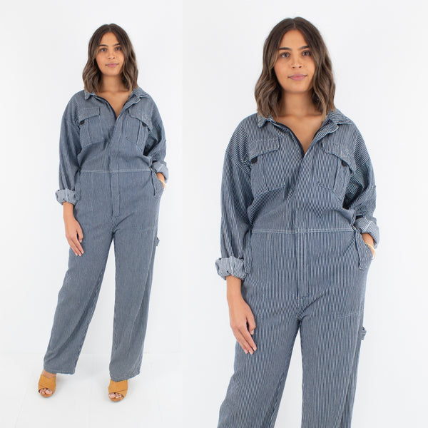 Boiler Suit / Coveralls in Navy Blue Stripe - Size M / L / XL