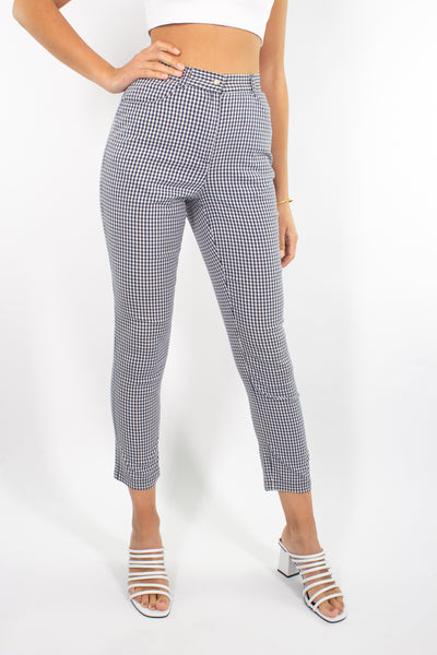Blue & White Gingham Check Stretch Pant - Size XS / 25""