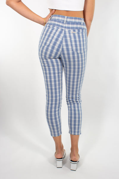 "Blue & White Gingham Check Pant - Size XS/S 25""/26"""