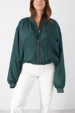 Bottle Green Silk Bomber Jacket - Free Size