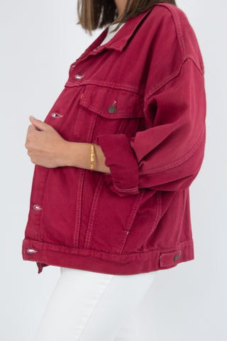 Levis Denim Jacket in Bright Maroon - Free Size