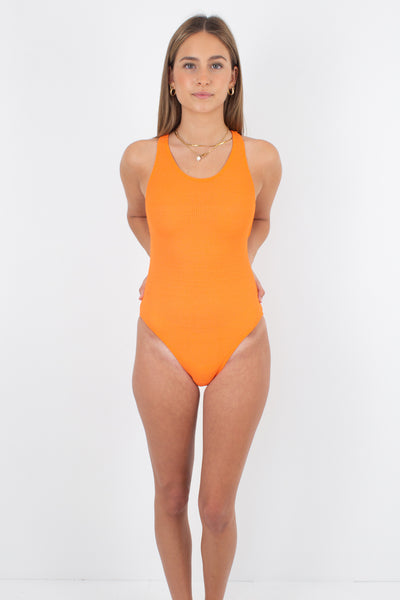 80s/90s Bright Orange Racerback One Piece Swimsuit - Size XS & S