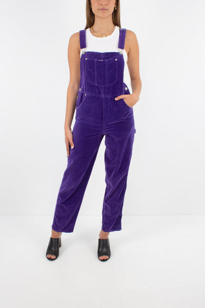 Purple Velvet Long Overalls - Size XS/S