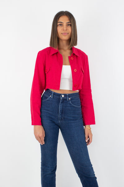 Bright Red Cropped Linen Jacket Blouse - Size XS/S