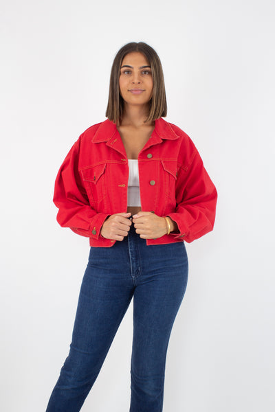 Bright Red Cropped Denim Jacket - Free Size