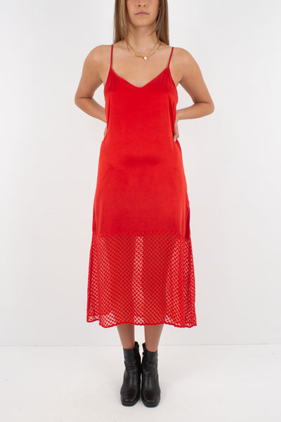 Bright Red Silk Maxi Dress - Size XS/S