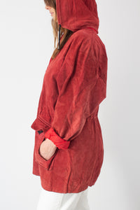 Bright Red Hooded Suede Leather Jacket - Free Size