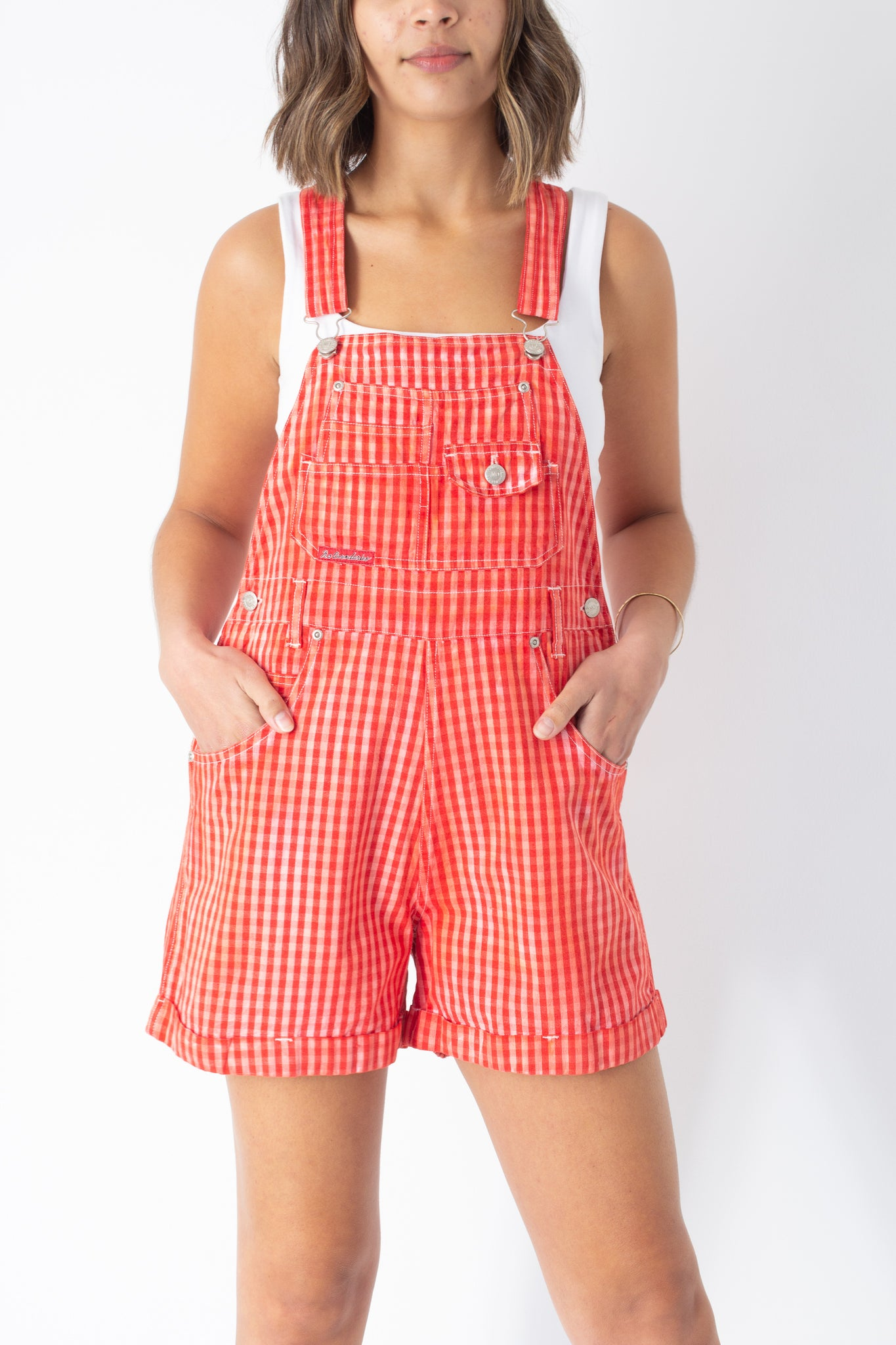 Bright Red Check Overalls - Size M