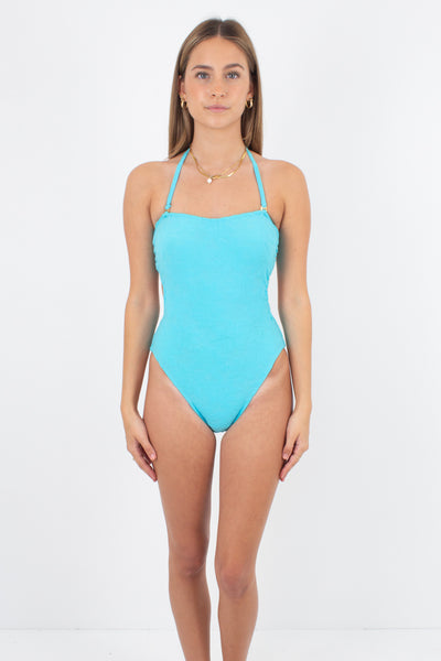 80s/90s Bright Teal Halter One Piece - Size XS & S