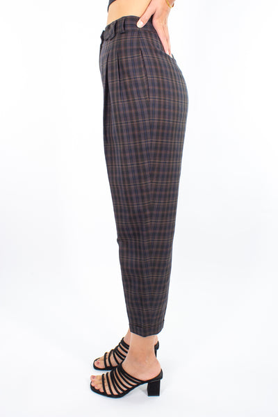 Brown Check Pant - Size S / 26""