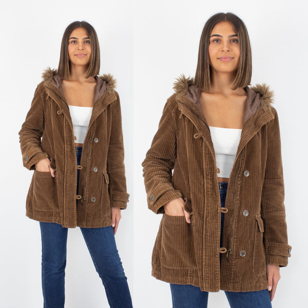 Brown Cord Hooded Jacket with Faux Fur Trim - Size S/M