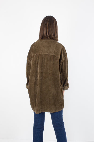 Brown Cord Zip Up Jacket - Unisex - Free Size