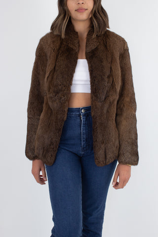 Medium Brown Fur Coat - Size XS/S/M