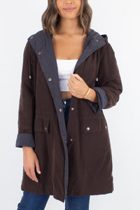 Brown Hooded Jacket - Size S/M/L