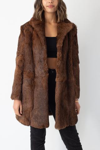Brown Mid Length Fur Coat - Size M