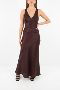 Brown Satin Maxi Dress | Bias Cut - Size S