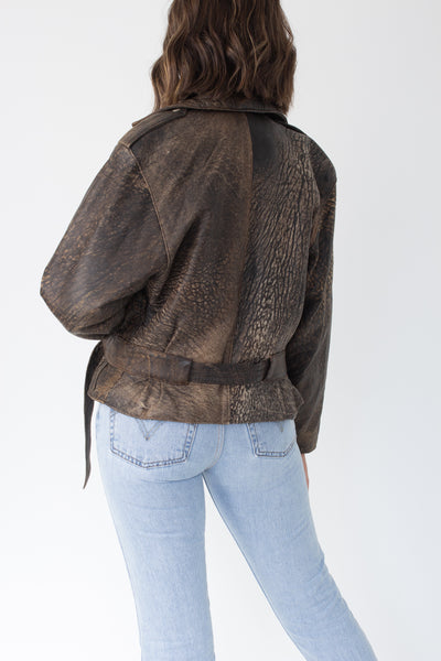 80s Brown Stonewash Leather Motorcycle Jacket - Size XS/S/M