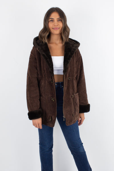 Chocolate Brown Suede Coat with Faux Fur Lining - Size XS/S/M