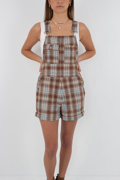 Linen Overalls in Brown Check - Size XXS/XS/S