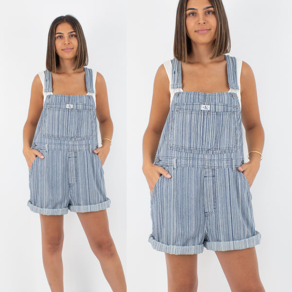 Calvin Klein Short Denim Overalls - Unisex - Blue Striped - Size L/XL