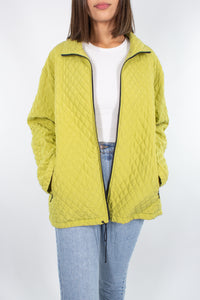 Chartreuse Quilted Silk Jacket - Free Size