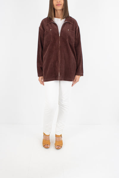 Chocolate Brown Cord Zip Up Jacket - Size M-L