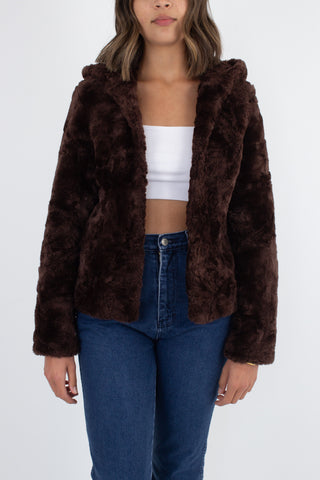 Chocolate Brown Faux Fur Hooded Jacket - Size XS/S