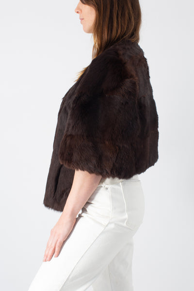 Chocolate Brown Fur Stole - Free Size